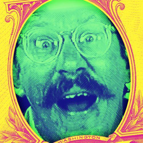 Robocop's TV star Bixby Snyder as the portrait in the dollar bill.