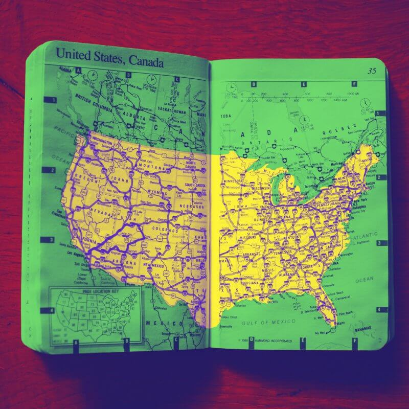 Map of America for the pop culture locations game