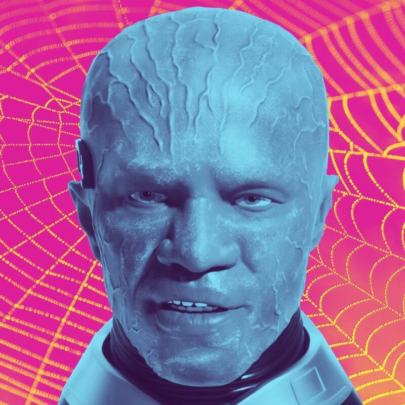 The creepy head of Jamie Foxx Spider-man DVD set.