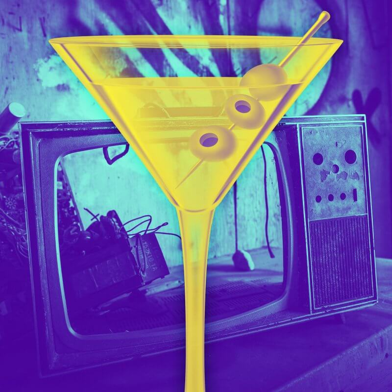 Martini glass and broken television for the Regrettable Television Pop Quiz