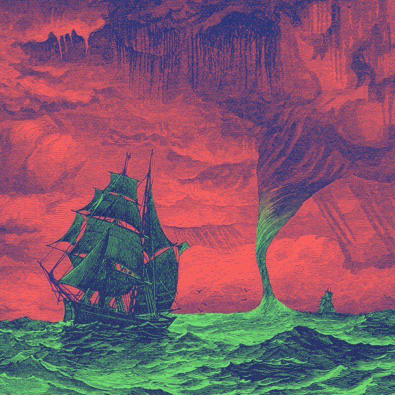 Tall ship at sea beside menacing water spout.